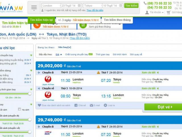 strona avia.vn lista wyników loty bilety podróże