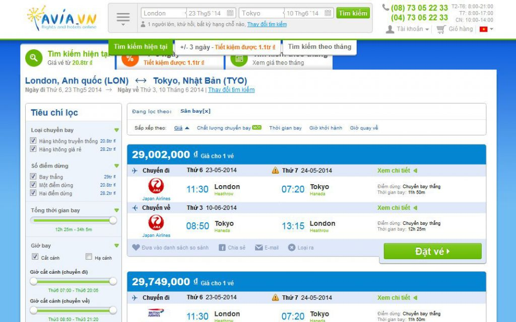 avia.vn website results list flights tickets travels