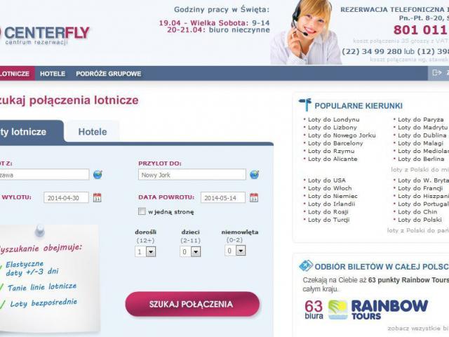 centerfly.pl podgląd strony, wyszukaj połączenia lotnicze, hotele bilety