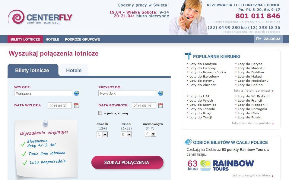 centerfly.pl site preview, search for flight connections, hotels tickets
