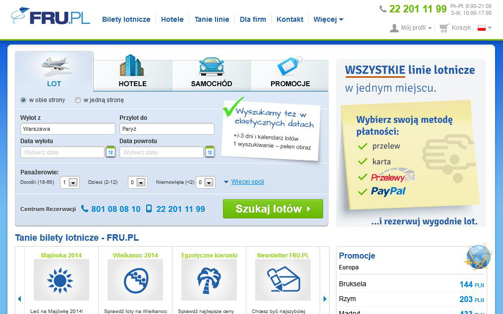 fru.pl flights hotels cars for rent airlines