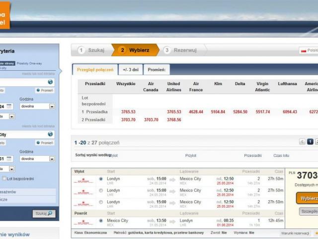 witryna grupa travel rezerwacja biletów lotniczych