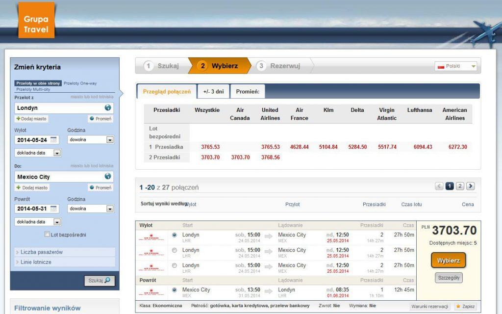 Travel group website booking airline tickets