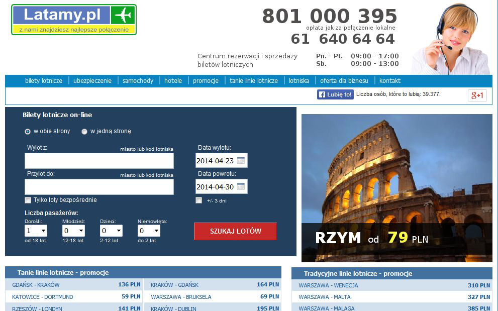 latamy.pl search preview cheap airlines traditional airline tickets