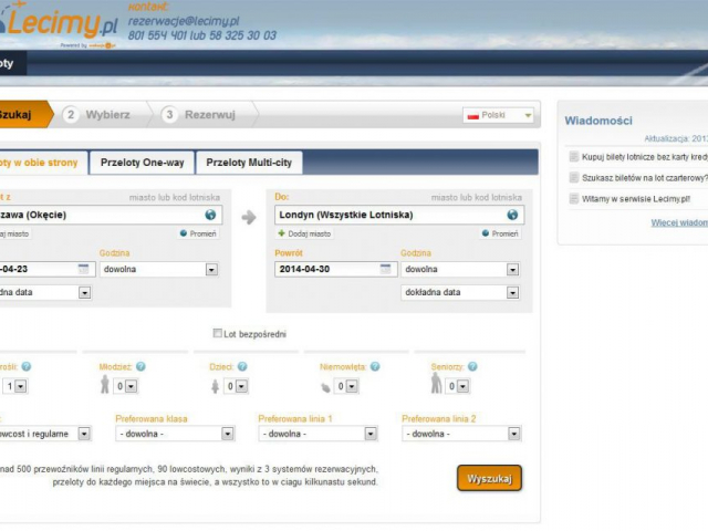strona lecimy.pl przeloty one-way multi-city loty czarterowe