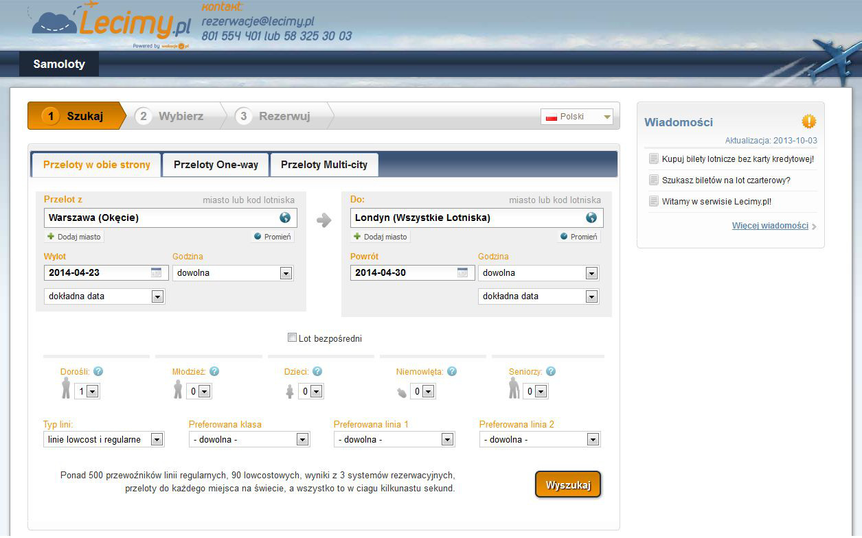 website lecimy.pl one-way flights multi-city charter flights