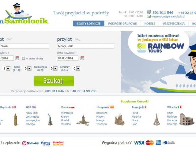witryna pansamolocik.pl podróże grupowe hotele ubezpieczenia lotnicze