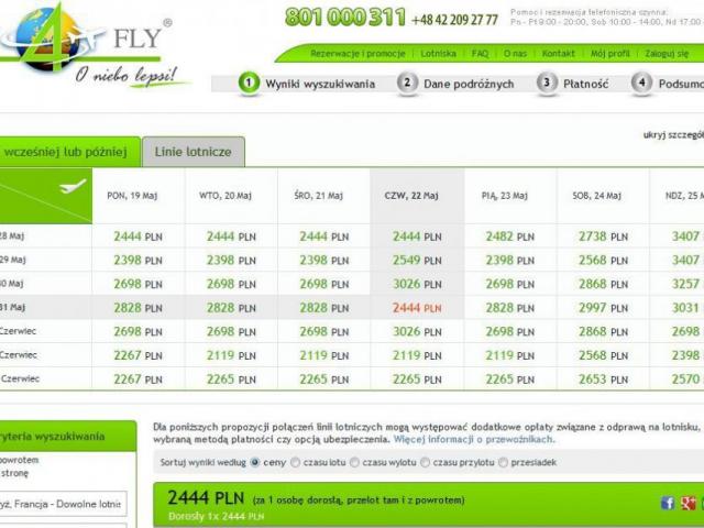 podglad strony sky4fly rezerwacje lotniska