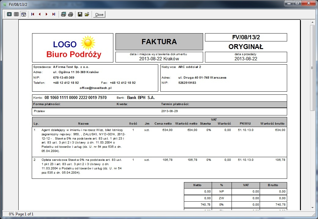 invoice issued using the galscan system