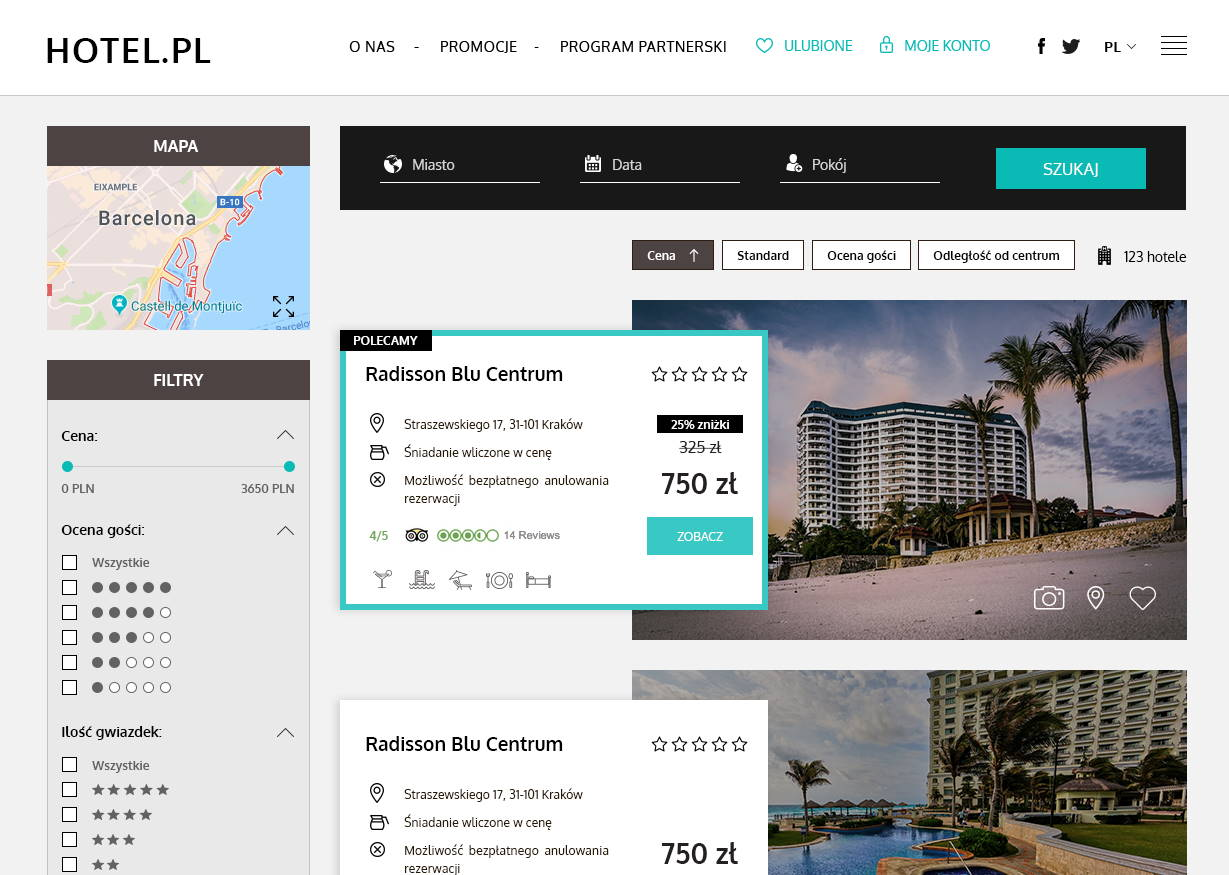 preview of hotel.pl it services filters guest rating stars frontend developer hire