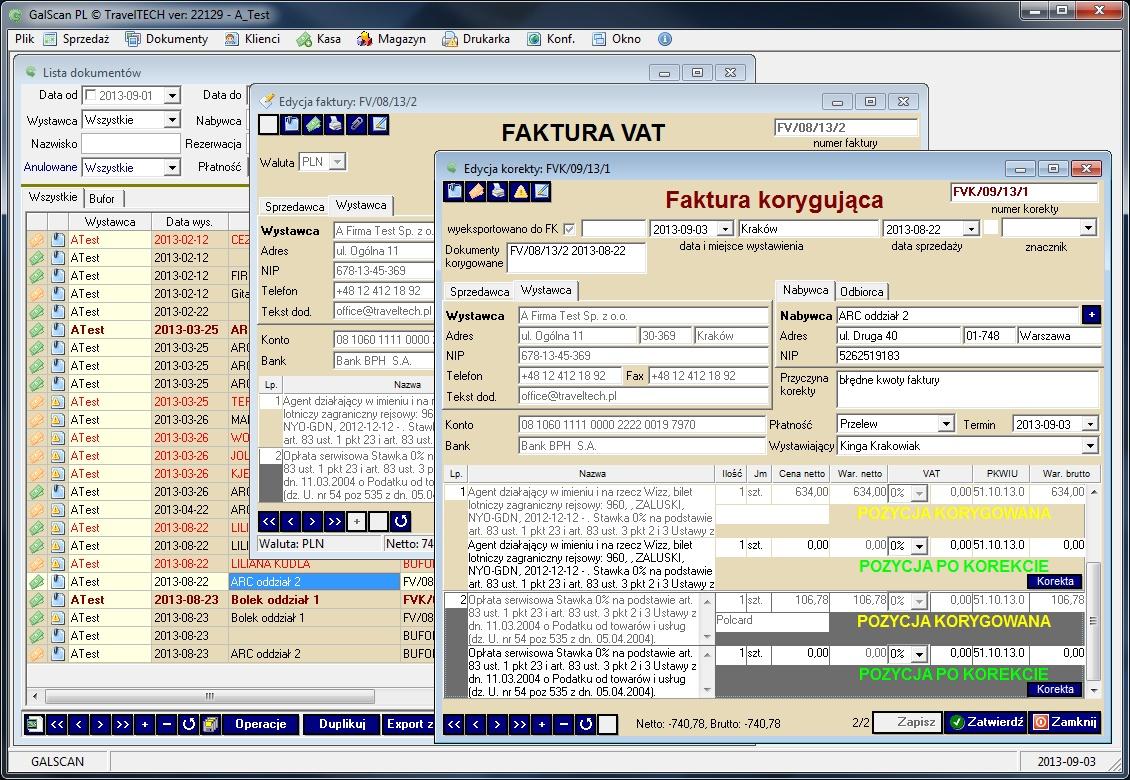 galscan widok Tworzenie różnych typów raportów
