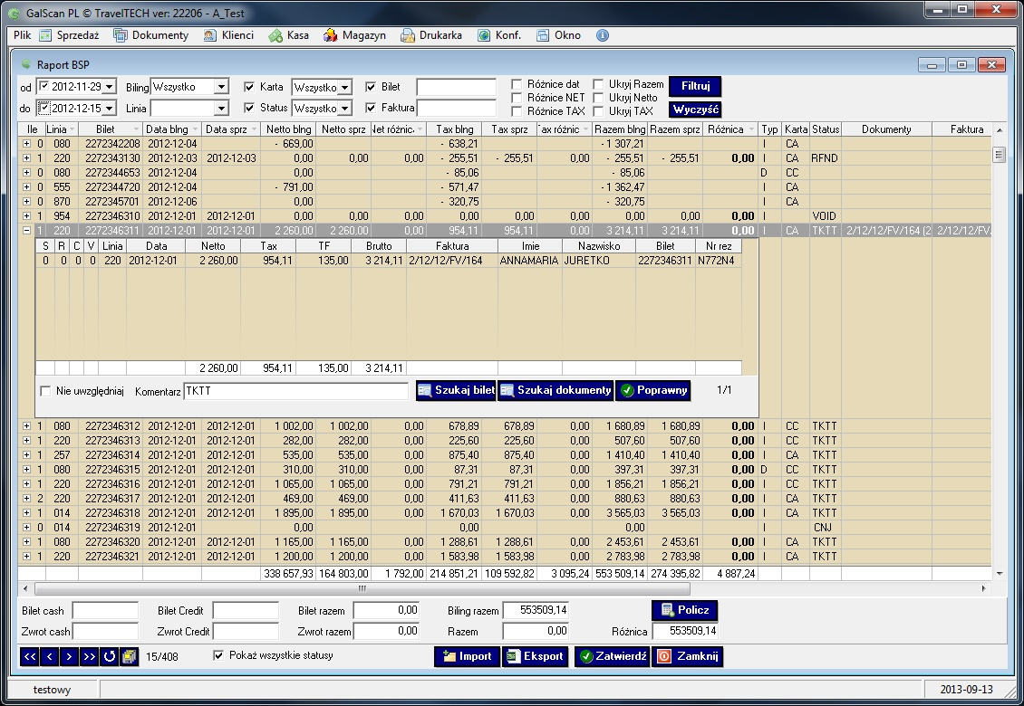 galscan Automatic comparison of IATA bills with data contained in GalScan