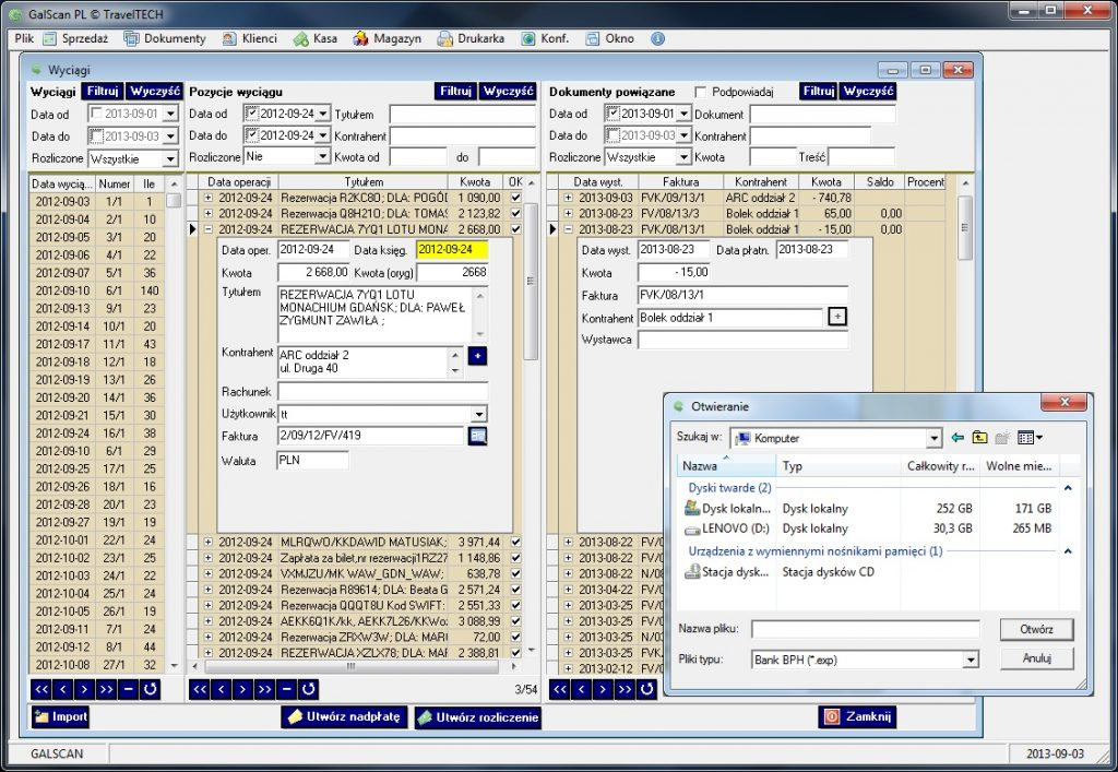 galscan control of payments, balances and history of customer accounts