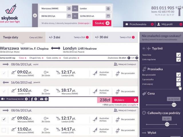skybook.pl podgląd witryny loty bez przesiadek z przesiadkami tanie linie