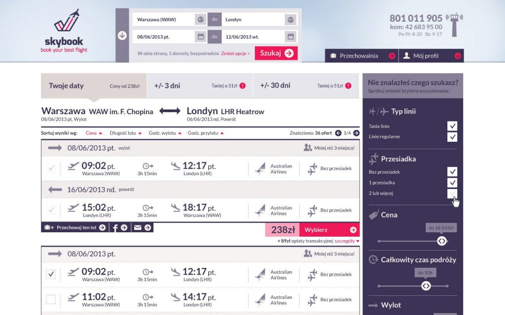 skybook.pl site preview no-change flights low-cost airlines web design company