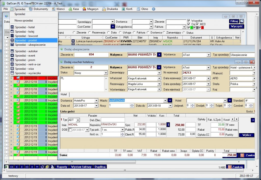 galscan issuing of collective, group and individual documents (invoices, corrections and notes)