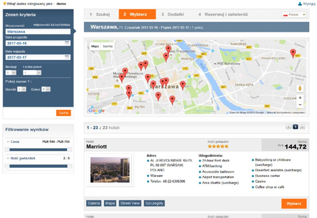 tripbooker reservation software reservation view warsaw marriott
