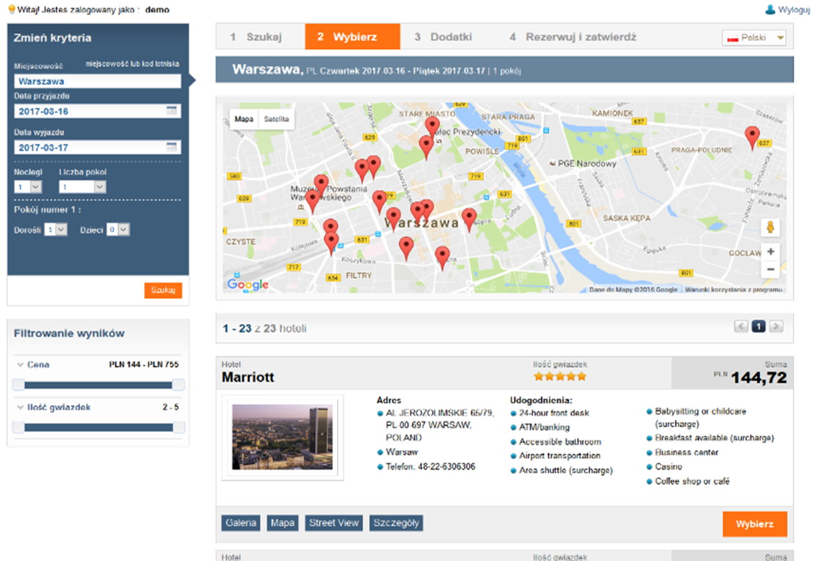 Tripbooker system preview hotel travel booking facilities