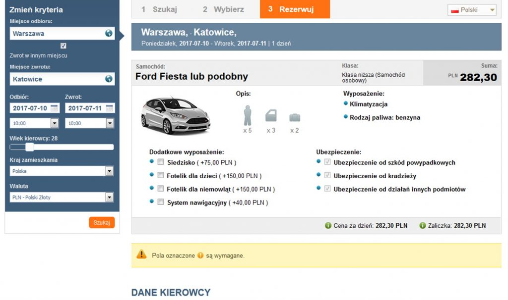 tripbooker galileo ticket booking preview of car rental