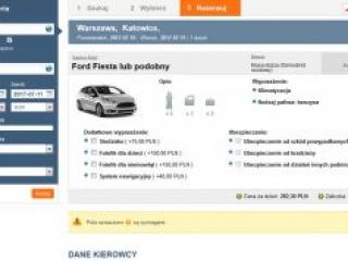 tripbooker podgląd widoku rezerwacja aut samochodów ubezpieczenie wyposażenie