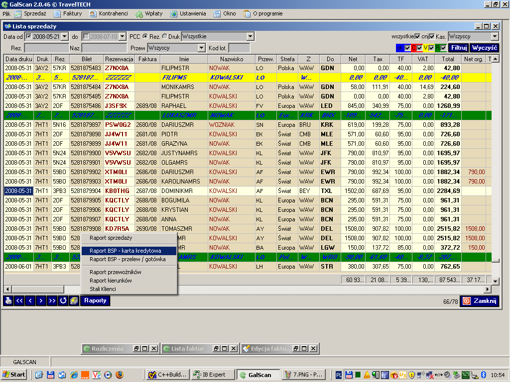 galscan for sales records of air ticket sales, hotel reservations, car rental and train tickets