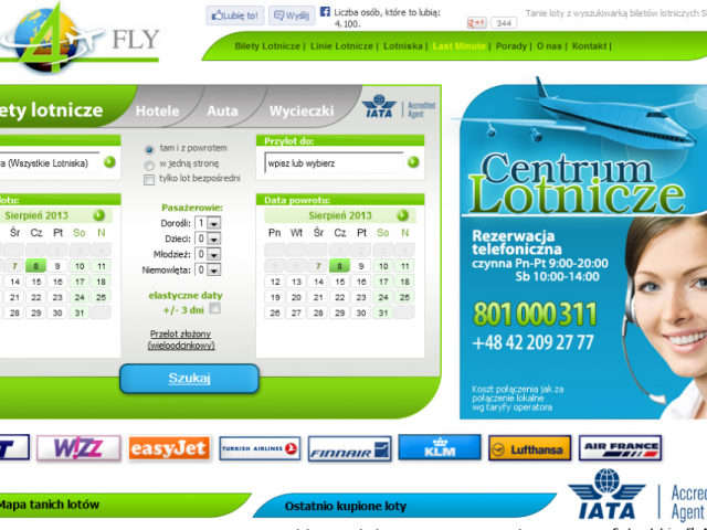 strona sky4fly bilety lotnicze tanie linie lotniska last minute