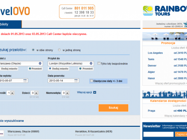 travelovo podgląd witryny - bilety lotnicze podróże turystyka tanie linie