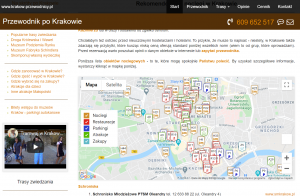 map of interesting places in Krakow wordpress development