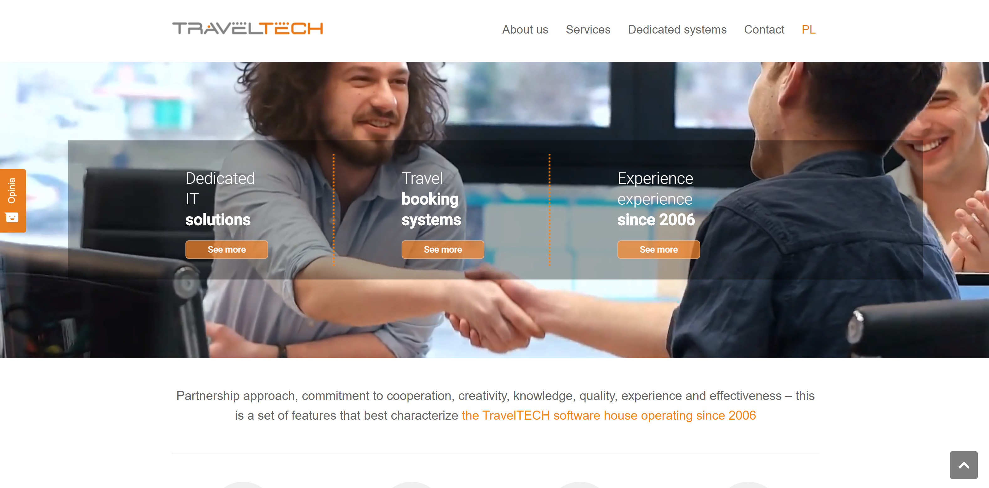 main page of TravelTECH website