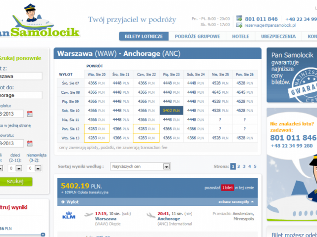 podgląd strony pansamolocik.pl wyniki wyszukiwania połączeń lotniczych