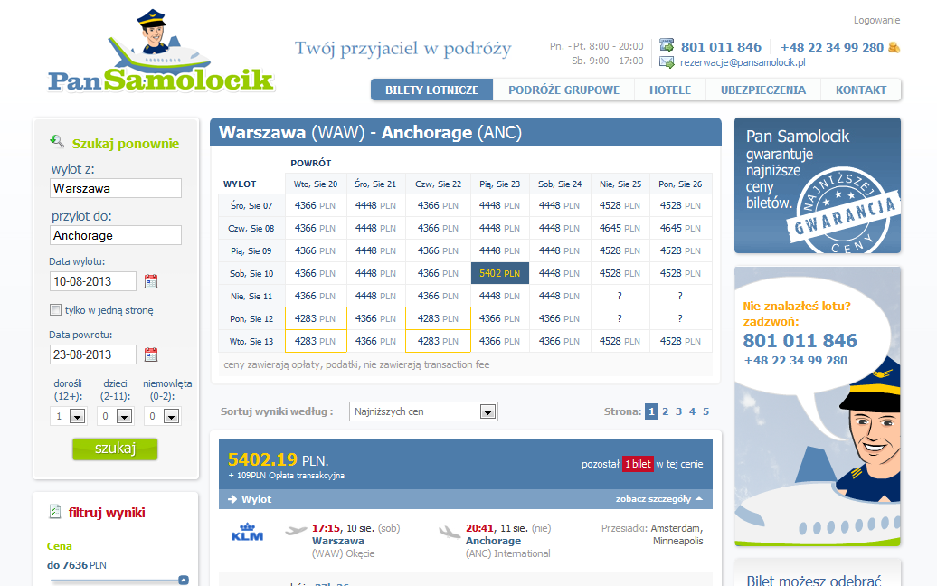preview of pansamolocik.pl ecommerce website development airline connection search results